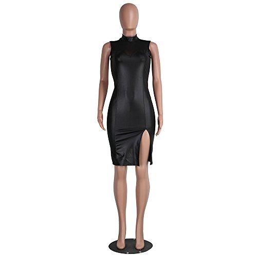 Culater® 1PC Mini Robe de Femmes Sexy O-cou sans Manches en Cuir Synthétique Noir