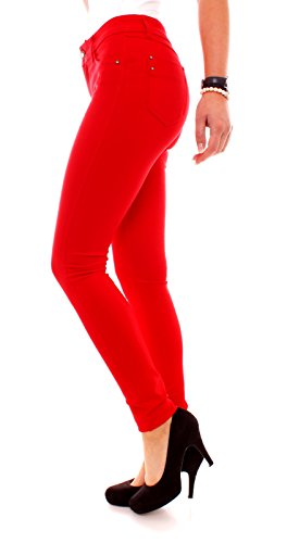 Easy Young Fashion Damen Jeans Hose Stretch Jeggings Miss Anna skinny Röhren Schnitt Rot