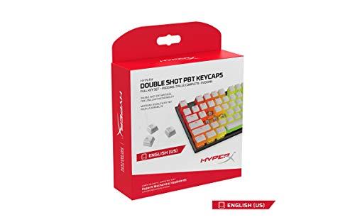HyperX Double Shot Pbt Tastenkappen-Set, 104 mechanische Tastenkappen, Weiß Pudding, langlebig, kompatibel mit mechanischer Tastatur, OEM-Profil, 2 Jahre Garantie (HX-Kbkc4)