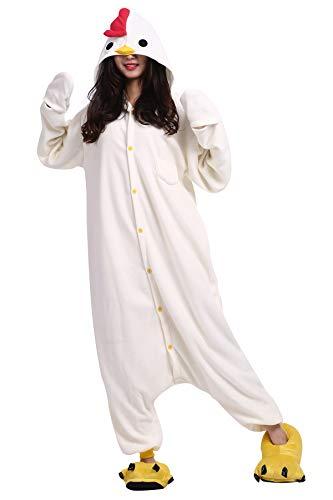 Pyjama Tier Cosplay Weiß Huhn Cartoonstil Animal Kigurumi Plüsch für Erwachsene Unisex