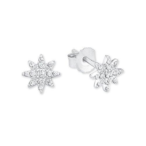 s.Oliver Damen-Ohrstecker Polar-Stern 925 Silber rhodiniert Zirkonia weiß