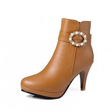 RTRY Scarpe Donna Pu Similpelle Autunno Inverno Comfort Novità Moda Stivali Stivali Stiletto Heel Round Toe Stivaletti/Stivaletti Imitazione Perla US3.5 / EU33 / UK1.5 / CN32