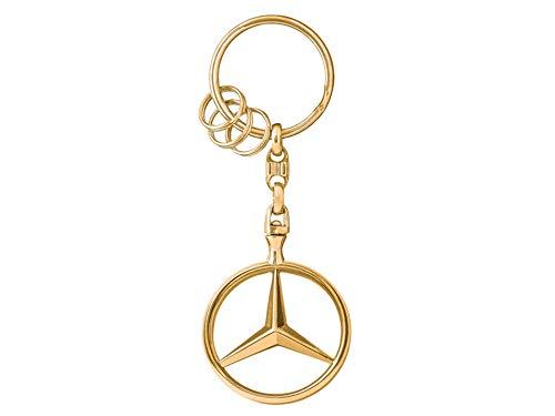 MB Mercedes-Benz Schlüsselanhänger, Brüssel goldfarben, Zinkdruckguss, hochglanzpoliert