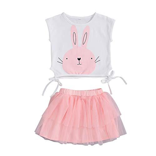 REALIKE Kinder Baby Mädchen 1PC Tops +1PC Kleid Mode Kaninchen-Muster Ärmellos Bogen Blusen Elegant Netzartiger Einfarbig Mini Kleid Sommerkleid Prinzessin Ostern Kleidung