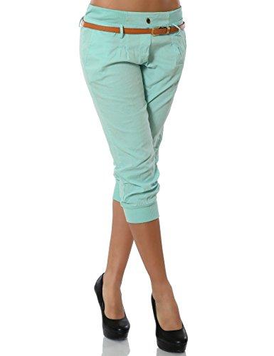 Damen Chino Capri Hose inkl. Gürtel (weitere Farben) No 13235, Größe:L / 40;Farbe:Mintgrün (Gürtel Kürzere)