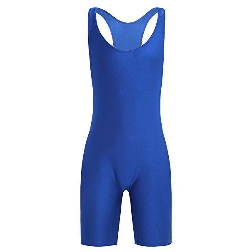 Feeshow Sexy Herren Männer Body Overall slim fit Kurzarm Tank Top Classic Unterhemd+kurze Hose mit Bein einteiliges Bodysuit Glatt Latzhose in blau, rot, schwarz M L XL Blau L (Bodysuit Classic)