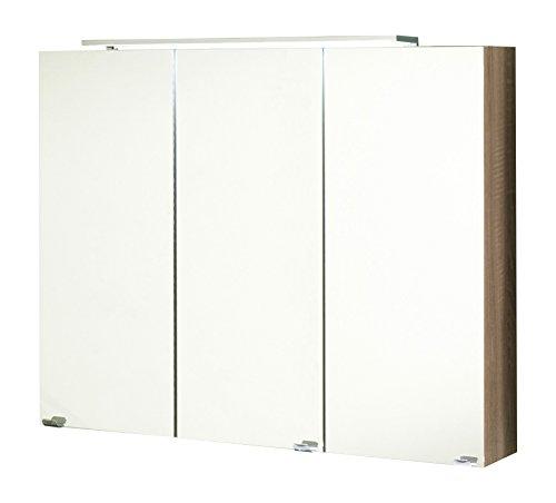 #Kesper Badmöbel 6017710000001000 Spiegelschrank Montana, 3 Türen, LED-Leuchte 65,5 x 80 x 15,5 cm, eiche#