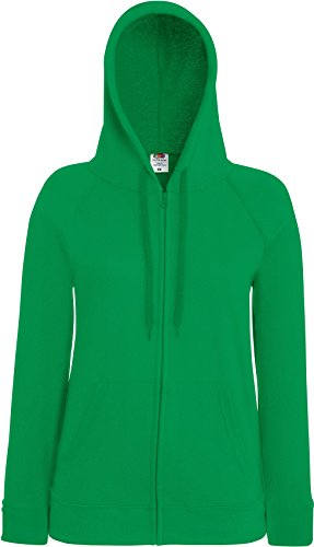 Fruit of the Loom Lady-Fit Lightweight Hooded Sweat Jacket 62-150-0 M,Kelly Green