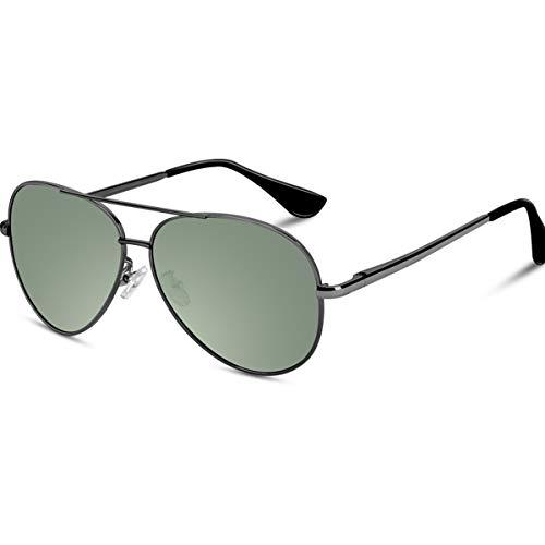 VVA Sonnenbrille Herren Pilotenbrille Polarisiert Pilotenbrille Polarisierte Sonnenbrille Herren Pilot Unisex UV400 Schutz durch V101(Grün/Gun)