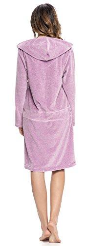 dn-nightwear Damen Bademantel / Morgenmantel / Saunamantel mit Kapuze mit hohem Baumwollanteil Jeans