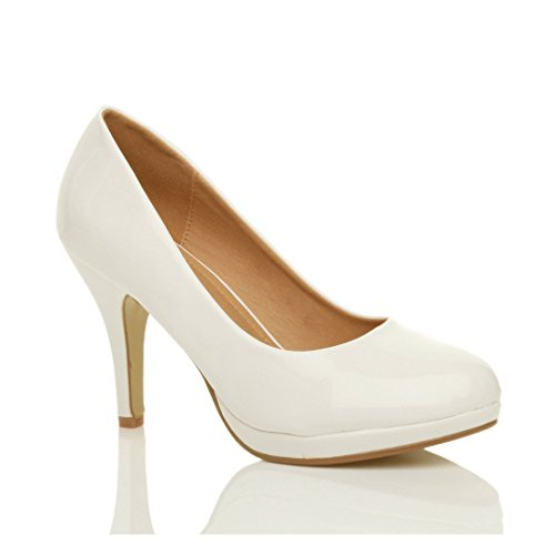 Donna tacco alto medio lavoro sera festa semplice décolleté scarpe taglia Vernice bianco