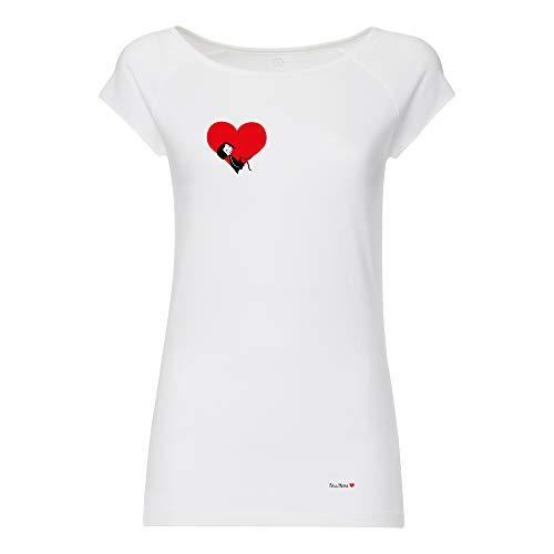 FellHerz Damen T-Shirt Valentine Weiß Bio Fair, Größe:XL