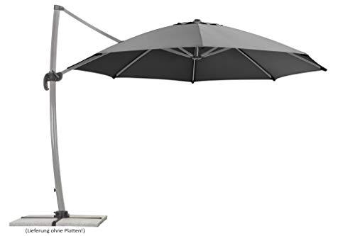 Schneider Sonnenschirm Rhodos Rondo, anthrazit, 350 cm rund, Gestell Aluminium, Bespannung Polyester, 22.4 kg
