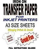 Inkjet Printable Iron On T Shirt & Fabric Transfer Paper For Light Fabrics 10 A3 Sheets