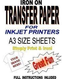 Inkjet Printable Iron On T Shirt & Fabric Transfer Paper For Light Fabrics 10 A3 Sheets
