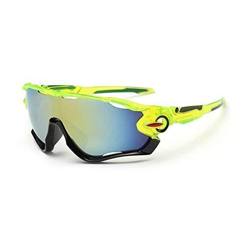 KRY UV400Occhiali da sole sportivi da uomo, infrangibili, montatura in metallo, ideali per guida, golf e pesca, Uomo, Black & Green, 145mm * 50mm * 122mm