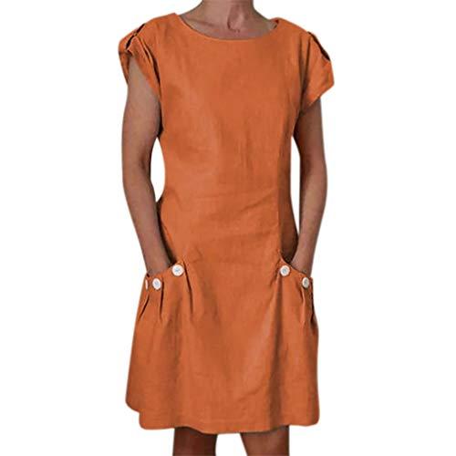 Schwarze Geraffte Tasche (Elegante kleider Damen Kleid Cocktailkleider Ronamick Frauen Casual solide geraffte Taschen O-Ausschnitt tägliche zugeknöpft-Dekor Etuikleider(M, Orange))