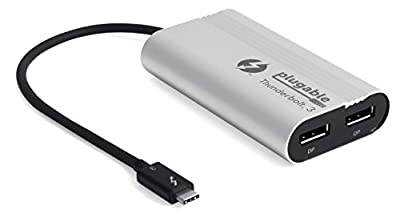 Plugable Thunderbolt 3 Dual DisplayPort Output Display Adapter for Thunderbolt 3 Windows Systems (Windows Only, Not Mac Compatible, Supports Two 4K 60Hz Monitors Or One 5K) by Plugable