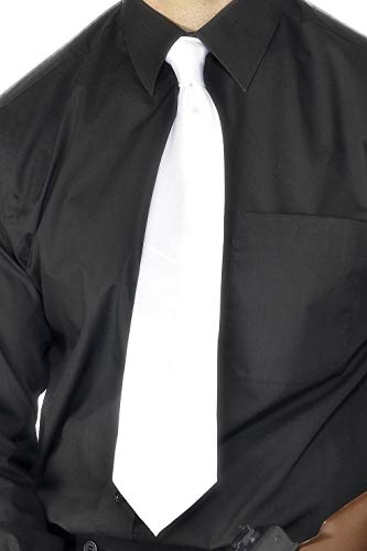 Richter Fancy Kostüm Dress - Smiffys Herren Krawatte, Gangster Krawatte, One Size, Weiß, 22869