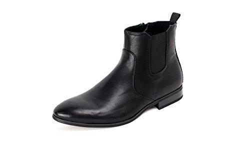 Hommes Décontracté Chelsea Élégant Bottine Fermeture Éclair Noir Brun Taille De Chaussure Noir