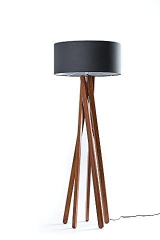 Hochwertige Design Stehlampe Tripod mit Stoffschirm in anthrazit/schwarz und Stativ/Gestell