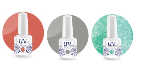 UV-Nails Soak-Off Gel Set Romantic Getaway (225,207,211) 2 Vernis a Ongles & 1 Vernis Paillettes 15ml + Aviva Polissoir a ongles