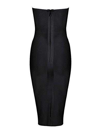 Whoinshop da donna senza spalline Low Cut Lace Up Bodycon party BANDAGE vestito con metallo Adorn Black
