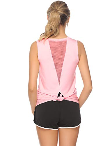 Aibrou Damen Yoga Top Trainings Mesh Shirts Sexy Rücken Offenen Sports Tank Tops Rosa S -