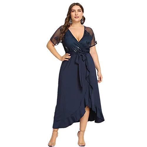 Lover-Beauty Paillettenkleid Damen Abendkleid Bodenlang Standesamtkleid, Blau-paillette, (EU50-52)3XL
