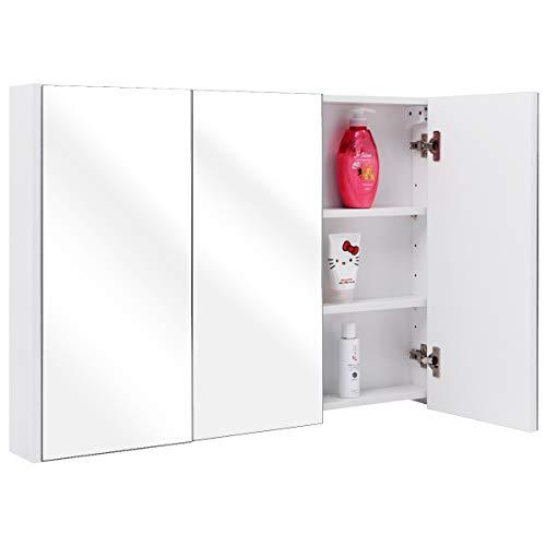 COSTWAY Spiegelschrank Badezimmer, Badezimmerspiegel mit verstellbaren  Ablagen, Badezimmerspiegelschrank weiß, Wandschrank mit Spiegel,  Hängeschrank ...