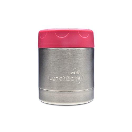 LunchBots Thermal 235 ml Edelstahl Innenraum – Isolierter Nahrungsmittelbehälter hält 6 Stunden lang heiß oder 12 Stunden lang kalt – Auslaufsicherer Suppenbehälter – Rosa
