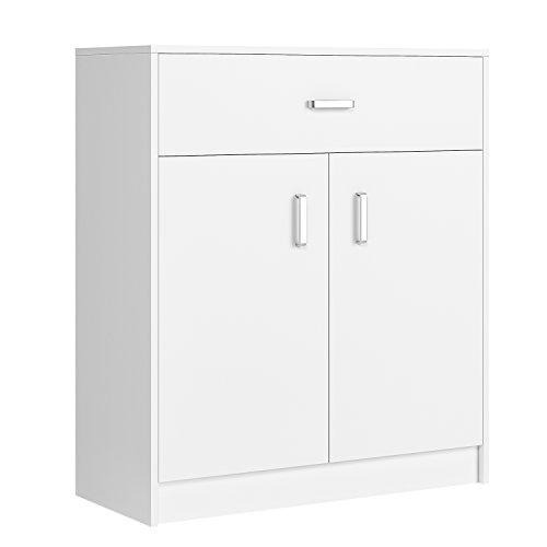Homfa scarpiera in legno a 3 ripiani con 1 cassetto grande, porta scarpe, scarpiera armadio con cassettiera per casa, bianco, 80 x 34 x 92cm