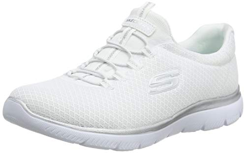 Skechers Damen 12980 Sneakers, White (White/Silver), 4 UK  (37 EU)