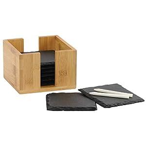 Fiterio 8er Set Glasuntersetzer aus Schiefer - Premium Schieferplatte als Glas Topf Untersetzer in Edler Holzbox - Schiefertafel Servierplatten