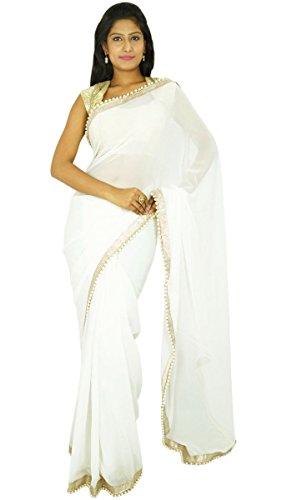 indischen traditionellen Sari Partei zu tragen Designer-Hochzeits Georgette Sari Geschenk für sie (Weiße Indische Sari)