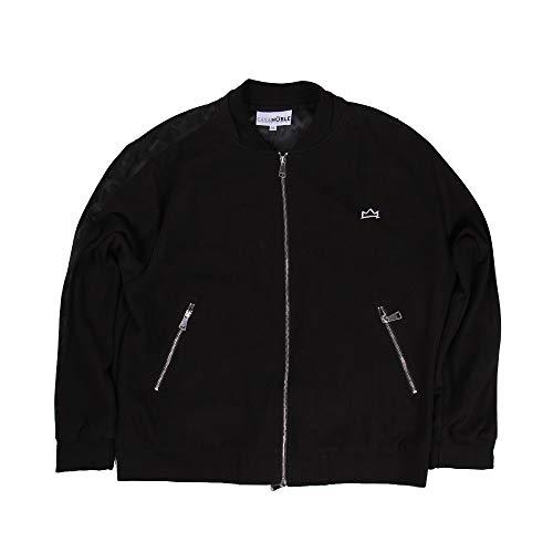 MEETWARM Herren Big & Tall Casual Long Sleeve Zip Up Classic Basic Style Active Jacket Schwarz - schwarz - 6XL (Coats And Big Tall)