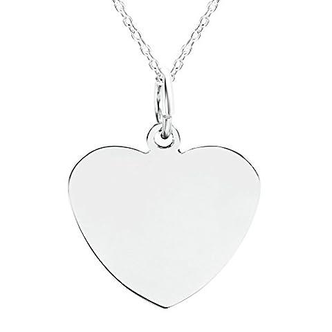 anazoz Fashion Jewelry Collier avec pendentif en forme de cœur en acier inoxydable Gravure offerte Message–Pendentif Argent pour hommes, Taille 2,7x 2.4cm couleur