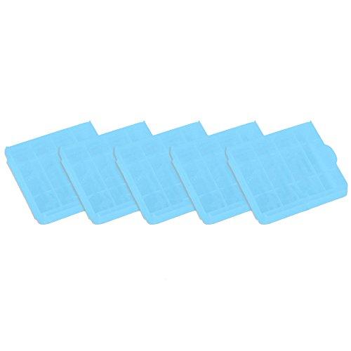 COM-FOUR® 5x Batteriebox für AA und AAA Batterien Aufbewahrung Case in Blau (05 Stück - Blau)