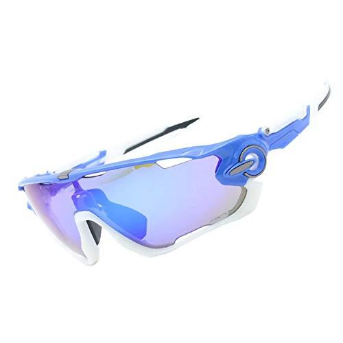 Bishilin Motorradbrille Beschlagfrei Sportbrille Outdoor Sonnenbrille Schutzbrille Blau Weiß Silber