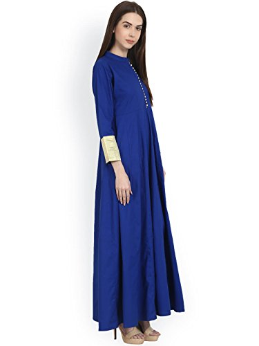 Purva-Art-Womens-Navy-Blue-Taffeta-Silk-Blouse-Button-Stitched-Long-Gown-For-Girls-PA2401Navy-BlueTaffeta-SilkStitchedJFW-150
