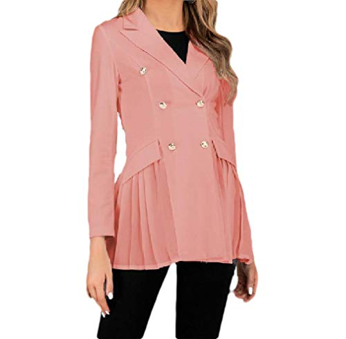 CuteRose Womens Double Breasted Fitted Long-Sleeve Office Wear Blazer Jacket Pink S Double Breasted Coat Petite