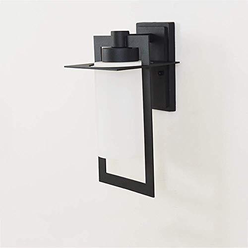 AOLI Einfache moderne wasserdichte Außenwandlaternen E27 weißer Glaslampenschirm regendichte Wandleuchte schwarz lackiert Schmiedeeisen rostfreie Wandleuchte Innenhof Terrassentür dekorative Wandleuc -