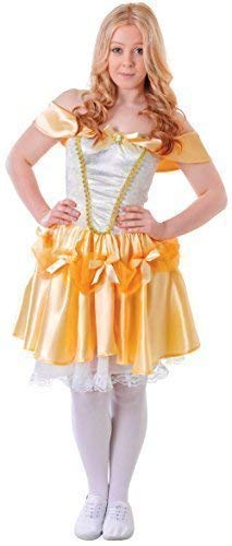 Teen &Ältere Mädchen Beauty Gelbgolden Prinzessin Fasching Halloween Welttag des Buches Kostüm Kleid Outfit ()