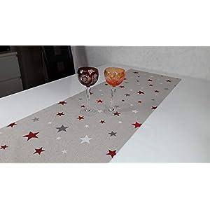 Weihnachten-Tischläufer aus Lurex-Stoff mit Sternen.