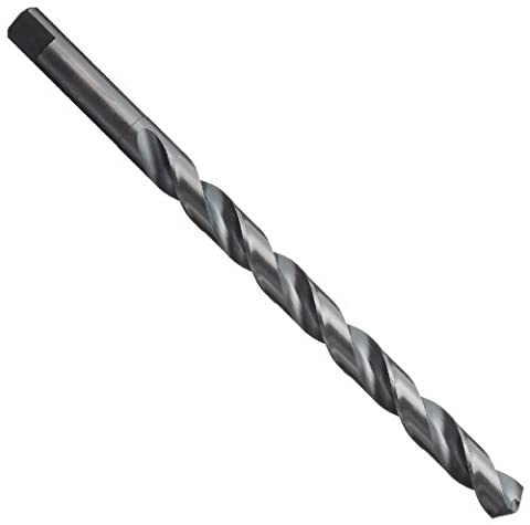 Chicago Latrobe 120F High-Speed Steel Long Length Drill Bit, Black Oxide Finish, Round Shank with Tang, 118 Degree Notched point, 11/32