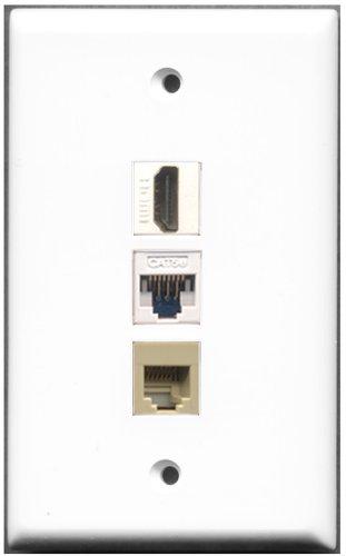RiteAV RJ11, RJ12, Farbe Beige, 1Port, Cat-5e Ethernet Wall Plate-1Port HDMI + 1Ports - Hdmi-modular Wall Plate