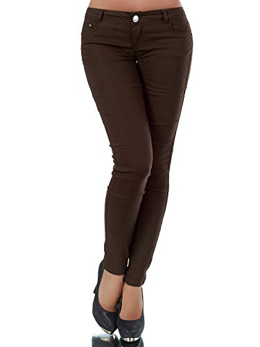 L957 Damen Hose Treggings Leggings Stoffhose Freitzeithose Röhrenhose Leggins , Farben:Dunkelbraun;Größen:40 (L)