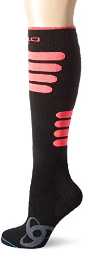 Odlo Extra Long Ski Ceramiwarm Socken, Black/Diva Pink, 39-41