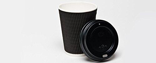 Bakery direct Noir 12 oz isolé 150 gobelets jetables en carton avec couvercles noirs