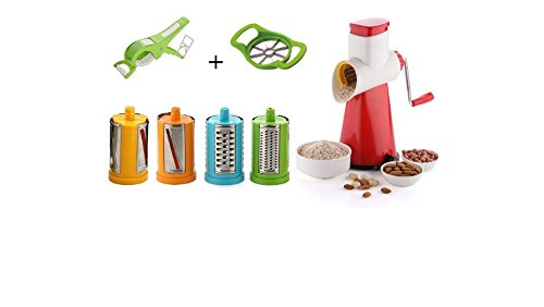 CLOUDSELL 7 In 1 Drum Grater Shredder Slicer For Vegetable, Fruits, Chocolate, Dry Fruits, Salad Maker With 4 Different Attractive Drums With Free Apple Cutter And Peeler For Vegetable
